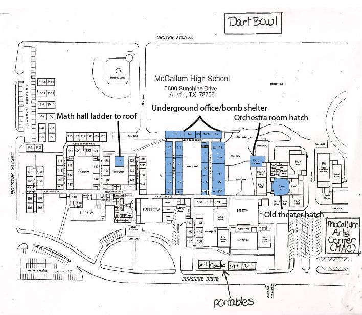 A map of the school highlights the areas with the bomb shelter and access hatches below the school.
