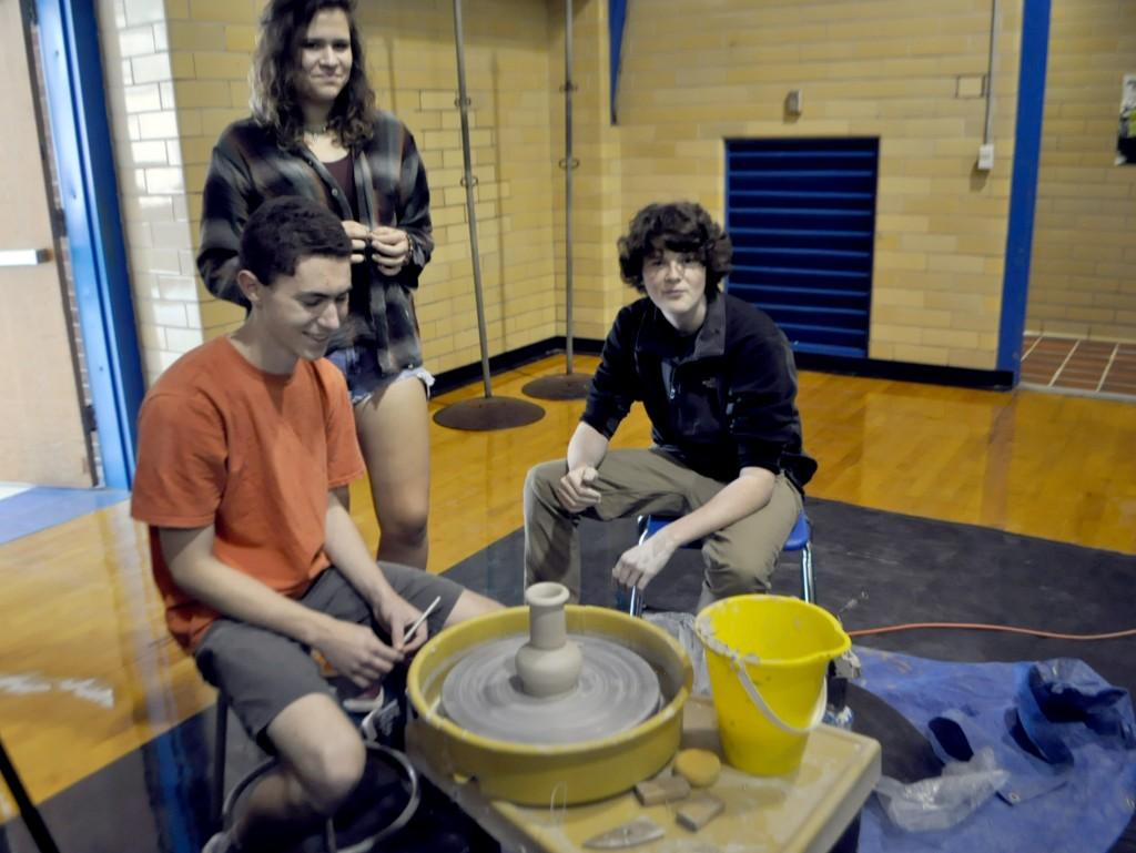 Ceramics is one art elective available to students who have completed the Art 1 course. Students explore a new media as they learn to throw pots and more.