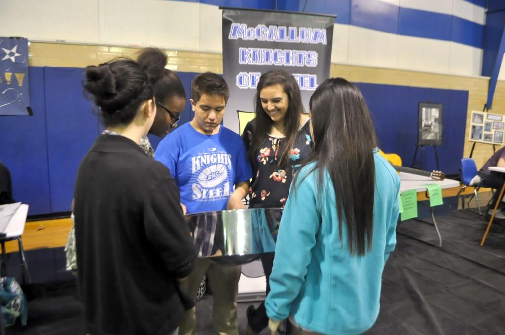 "Knights of Steel is McCallum's steel drum band, directed by Matt Ehlers. ""[Students can] let musical interests shine in a relaxed environment,"" said junior Miguel Minick."