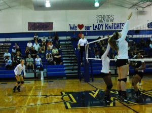 Sophomore Andrea Janss goes up to block a ball against Lanier during the 2013 season.