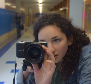 "Junior Elizabetta Diorio shoots a short film for her Audio Video Production class. Dioro recently advanced to state UIL for her films ""Lucy and Grasshopper"" and ""Plastic Bag."" Photo by Mary Stites."