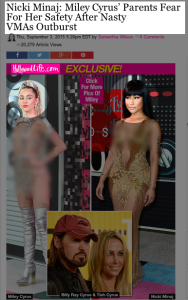 Hollywood Life's article and illustrations used to cover the VMAs incident.