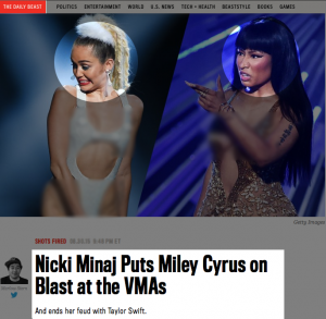 The Daily Beast's article and illustrations used to cover the VMAs incident.