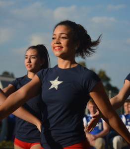 Dos Santos and her Brigade mates prepare to perform at the outdoor pep rally leading up to the Knights' playoff win over Kerrville Tivy on Nov. 11. Photo by Dave Winter.
