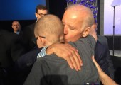 """Townes Hobratschk embraces former Vice President Joe Biden after a SXSW panel on funding the fight against cancer. """"I made a promise to Mr. Anderson that I would ask Mr. Biden if he would be Mr. Anderson's honorary uncle,"""" Hobratschk said. """"I forgot to ask him that, so I'll have to do it next time."""" Photo provided by Carol Nelson."""