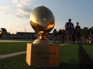 THE TROPHY RETURNS: The Taco Shack trophy before the game on August 31. McCallum won 48-28 against Anderson. photo by Gregory James