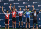 "Eli Husted stands on top of the podium after winning the 2017 Amateur Road National Championships last summer. Husted beat 68 other 15-16 year old boys to win his second straight title. ""[It was] a great relief,"" Husted said. ""I had won the year before too, and I just kind of wanted to defend the title."""