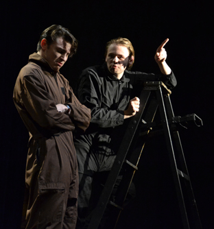 "Junior Max Corney and senior Peter Richard act as technicians in a play within a play. The show, ""Cut,"" was part of the student-directed shows March 27. Photo by Maya Coplin."